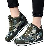 TianWlio Damen Sneaker Frauen Outdoor Canvas Beiläufige Outdoorschuhe Camouflage Schuhe Dicke Sohlen Schnürschuhe Sneakers Camouflage 39