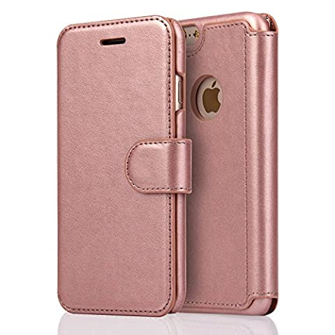 Coque iPhone 6,Coque iPhone 6S,SOWOKO Housse Cuir Etui à rabat Portefeuille avec Fermeture Aimantée Case pour Apple iPhone 6 /6S (Rose