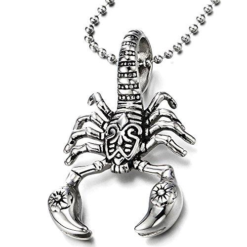Edelstahl Skorpion König Anhänger Halskette für Herren Silber Schwarz 75MM Stahl Kugelkette (König Skorpion)