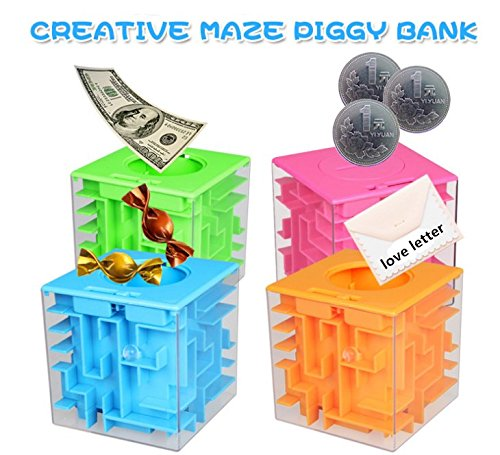(Oriental eLife Maze Piggy Bank Honeycomb Maze Puzzle Box for Kids and Adults Funny Birthday Gift (Orange))