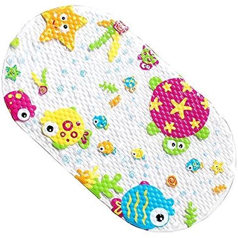 EGOMARKET alfombra antideslizante para baño con diseño de caricaturas para niños 15 X 27 pulgadas océano
