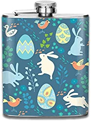 Easter Smart Bunny Purple Fashion Portable 304 Stainless Steel Leak-Proof Alcohol Whiskey Liquor Wine 7OZ Pot Hip Flask Travel Camping Flagon for Man Woman Flask Great Little Gift
