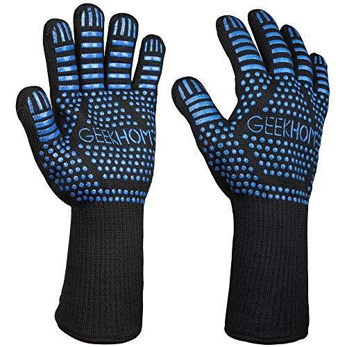 GEEKHOM Guantes Horno, Guantes de Cocina, Oven Gloves, 33cm Kevlar Manoplas, Resistentes...