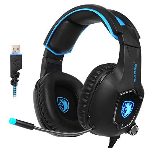 SADES R13 USB Gaming Headset Surround Stereo Kopfhörer Gaming Headset mit Mikrofon Revolution Lautstärke Kontrolle Geräuschunterdrückung LED Licht für PC / MAC/Laptop