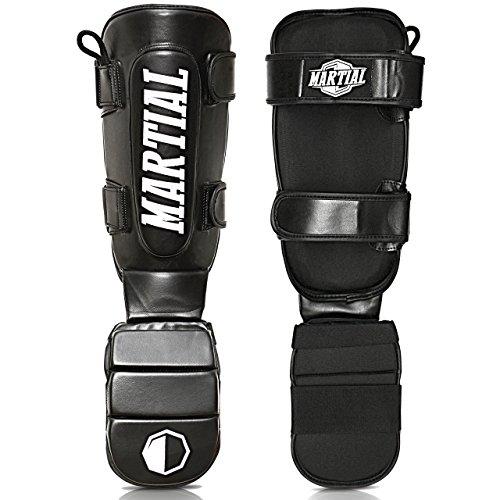 Martial Schienbeinschoner mit perfektem Sitz und idealer Polsterung! Schienbein-Schutz mit geringer Schweißentwicklung für hohen Beinschützer für Kampfsport, MMA, Kickboxen + Beutel
