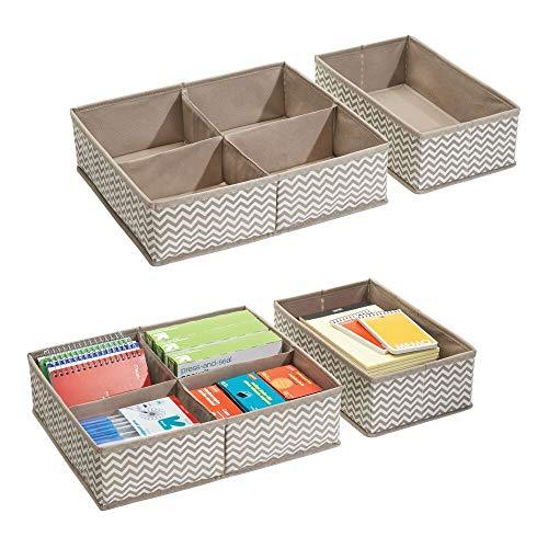 mDesign Set da 4 Organizer Cassetto in tessuto - Scatola per Ufficio ideale per prodotti di cancelleria - Scatola Scrivania in materiale di qualità - Colore: talpa