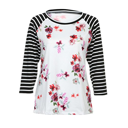 T-shirt Femmes,Manadlian Shirt Femme Rond Cou Floral Rayé Casual Tops Chemisier T-Shirt Blanc