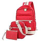 Gespout Point Leinwand dreiteiliger Umhänge Tasche Hand Taschen Schultasche Casual Canvas Schul Rucksack Backpack für Mädchen Jungen
