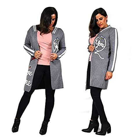 Cardigan Strickjacke One Size Pullover Longshirt Patches Winter Jacke