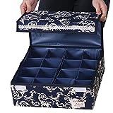 Sivin 32× 32× 12cm 16-cells regolabile cassetto organizzatori personalizzabile con divisori per reggiseno biancheria intima, calzini e, Microfibra, Blue, 32*32*12cm