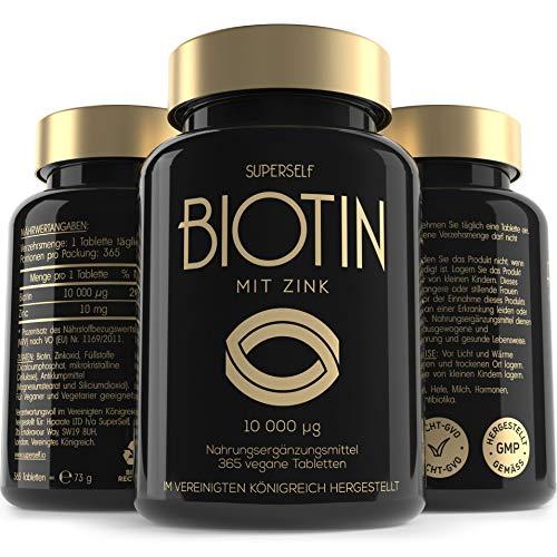 Biotin Hochdosiert 10.000 mcg Kapseln - 365 Vegane Biotin Tabletten mit Zink - Vitamin B7 für Haare, Haarwuchs, Haut & Nägel - Hergestellt in EU & Laborgeprüft