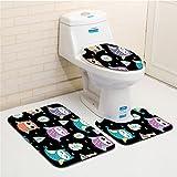 ZDDT Juego de Alfombrillas de baño de 3 Piezas Alfombra de Pedestal Antideslizante + Tapa de Inodoro con Tapa + Alfombra de baño (Dibujos Animados), C