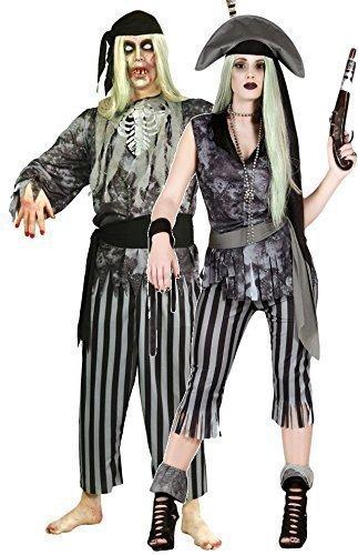 Paar Damen und Herren Geist Toter Zombie Pirat Halloween Kostüm Verkleidung Outfit Größe L (Kostüm Ghost Pirate)