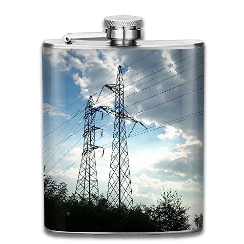 Hoklcvd Electricity Power Lines Utility Pole Sky High Voltage Gifts Top Shelf Flasks Stainless Steel Flask -