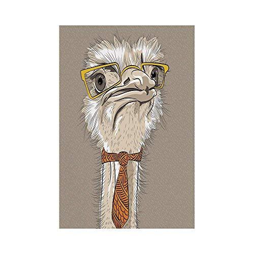 VAICR Home Garden Indie Sketch Portrait of Funny Modern Ostrich Bird with Yellow Eyeglasses and Tie Taupe Beige Yellowor Deko Süße Garten Flagge -