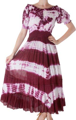 Sakkas 1702 2-Tone Tie Dye Cap Ärmel Smocked Taille abgestuft Guazy Long Kleid - Rot / One Size (Baumwolle Tie Dye Cap)