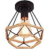 Rétro Vintage Plafonnier Industrielle Cage en forme Diamant en Métal avec corde de chanvre Fer Lustre Suspension Luminaire po