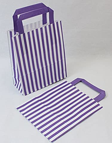 10 Purple Candy Stripe Paper Party Gift Bags 18cm x 21cm plus Handle