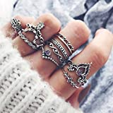 Elistelle 10 pcs Ring Damen Silber Gold Boho Midi Ringe Fingerring-Set Schmuck
