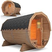 ISIDOR Holzbau Isidor Premium Sauna barilotto Vapor de madera exterior de jardín 3M Harvia Horno incluido (Rojo)