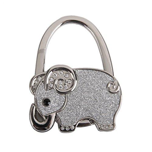 Nicedeal Plegable del Bolso del Gancho del Monedero Titular Tabla Percha Elefante Patrón (Plata) de Equipaje, Cartera, maletín, Mochila y Accesorios
