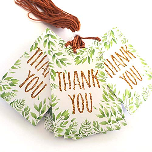Plant Leaves Thank You Favor Hang Tags - Tropical Nature Wedding Bridal  Greenery Party - Set of 24