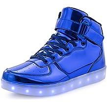 affinest High Top de la Marca LED de Carga USB Zapatos Intermitente Zapatillas de Moda para