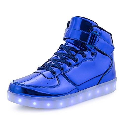 AFFINEST Hoch oben USB aufladen LED Schuhe blinken Fashion high-top Sneakers für Kinder Jungen (2017 Kostüme Rave)