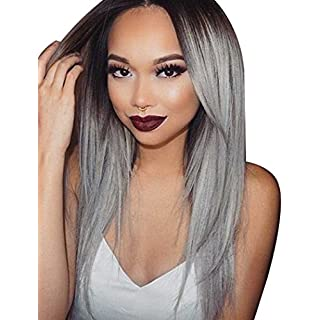 Tsnomore Long Silky Black to Grey Straight Ombre Synthetic Wig