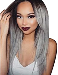 Tsnomore Long Black Straight to gris perruque synthétique