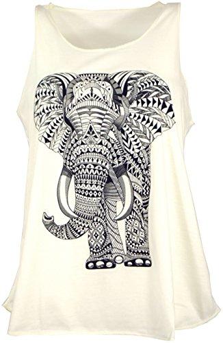 GURU-SHOP, Camiseta de Tirantes con Elefante étnico, Crema, Sintético, Tamaño:38, Camisetas, Camisetas, Camisetas