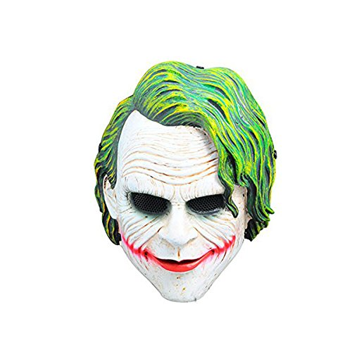 WORLDSHOPPING4U MALLA DE ALAMBRE VERDE BLANCO PAYASO CARA COMPLETA PROTECCION PARA AIRSOFT Y PAINTBALL MASCARA DE BATMAN