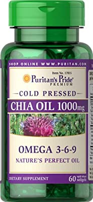 Puritan's Pride Omega 3-6-9, Chia Seed Oil 1000 mg (60 Softgels) from Puritan's Pride
