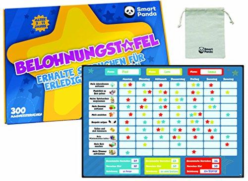 Belohnungstafel für Kinder - perfekt für Kleinkinder, zum Lernen von Verantwortung und für das Sauberkeitstraining - enthält 20 Magnet-Aufgaben Und 300 Sterne - auf Deutsch (Regel-chart)