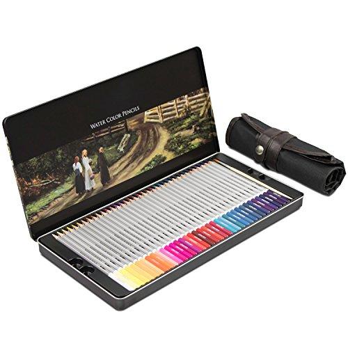 Buntstifte Set Metallbox und Federmappe - 72 Farben mit Pinsel - Aquarellstifte für Kinder und...