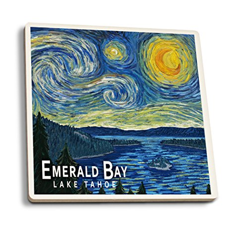 Emerald Bay State Park, Kalifornien - Van Gogh Starry Night, keramik, mehrfarbig, 4 Coaster Set - Bay State Park