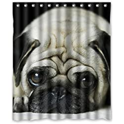 Adorable Pug Puppy Custom Waterproof Shower Curtain 60x72 Inch Bath Curtains