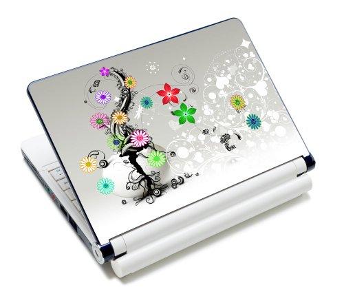 Luxburg® Design Aufkleber Schutzfolie Skin Sticker für Notebook Laptop 10 / 12 / 13 / 14 / 15 Zoll, Motiv: Bunte Blumenranke