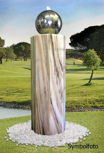 Gartenbrunnen Lichtsäule Oktogonia mit Edelstahlkugel