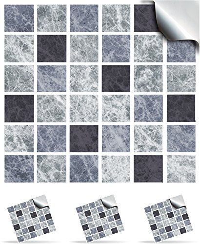 30 Slate Greys - Self Adhesive Mosaic Wall Tile Decals For 150mm (6 inch) Square Tiles –(TP1)- Realistic Looking Stick On Wall Tile Transfers Directly From the Manufacturer: TILE STYLE DECALS, No Middleman -- Peel and Stick on Tile to Transform your Kitch