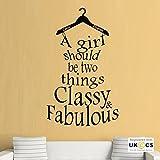 Classy Fabulous Coco Chanel Quote Mädchen-Wand-Kunst-Aufkleber-Abziehbilder Vinyl-Hauptraum Schlafzimmer Jungen Mädchen Kinder Erwachsene Heim Wohnzimmer Zitate Küche Badezimmer Wandaufkleber