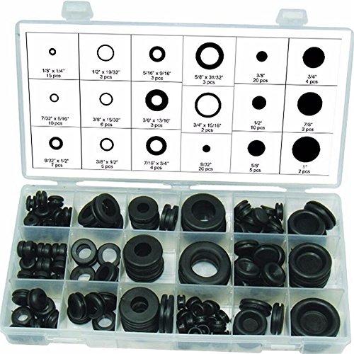 Dichtungstüllen-Sortiment, Gummi, O-Ring, hydraulische Klempner- Dichtung, Paintball-Dichtungen, Elektro-Dichtung, Unterlegscheiben, Schwarz, 125-teilig  -