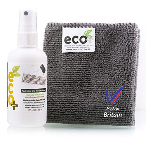 Ecomoist Natürliche Tastatur und Maus Reiniger 100Ml Am besten für Tastaturen Mäuse Pads Joysticks Spielkonsolen Made in England Eco-Friendly -