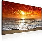 murando - Cuadro - Playa y Mar 120x80 cm - Lienzo tejido no tejido - Cuadro en lienzo tejido no tejido - Puesta de sol c-B-0264-b-a