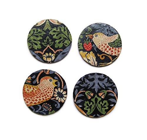 William Morris Erdbeerdieb, Kunst und Handwerk, dunkelblau, rot Stoff personalisierbar Découpage-Set von vier Untersetzer Kork, Getränke Mats.