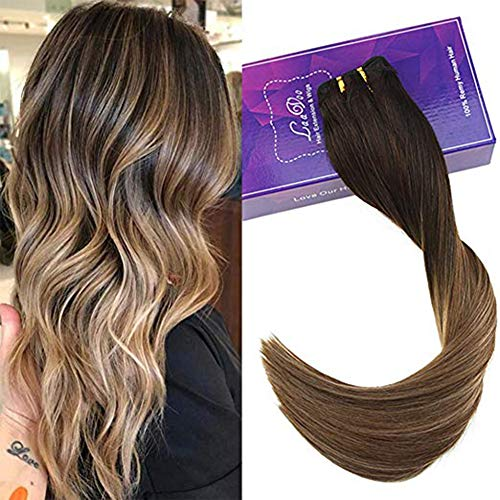 Laavoo 22 pollice long hair bundles 100grammi/pezzo sew in extension tessitura marrone scuro balayage marrone medio ombre biondo cenere natural weave straight smooth