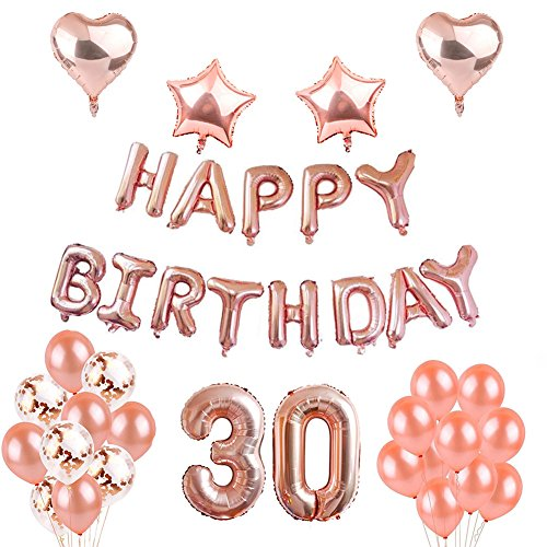 Weimi 30th Birthday Decorations Rose Gold For Women Self Inflating Foil HAPPY BIRTHDAY Banner Star Heart Balloon Confetti Latex Balloons With Clear