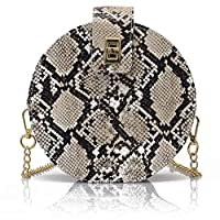 Timagebreze Snake-Skin Print Small Round Bag Casual Fashion Single-Shoulder Chain Diagonal Cross Bag