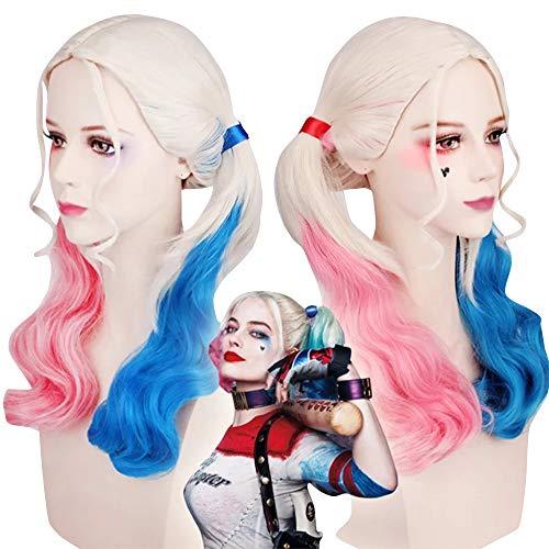 thematys Harley Quinn Perücke - Kostüm Zubehör für Damen - perfekt für Fasching, Karneval & Cosplay - ideal kombinierbar zum - Harley Joker Girl Kostüm