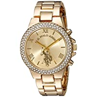 U.S. Polo Assn. Women's Quartz Watch, Analog Display and Gold Plated Strap USC40032
